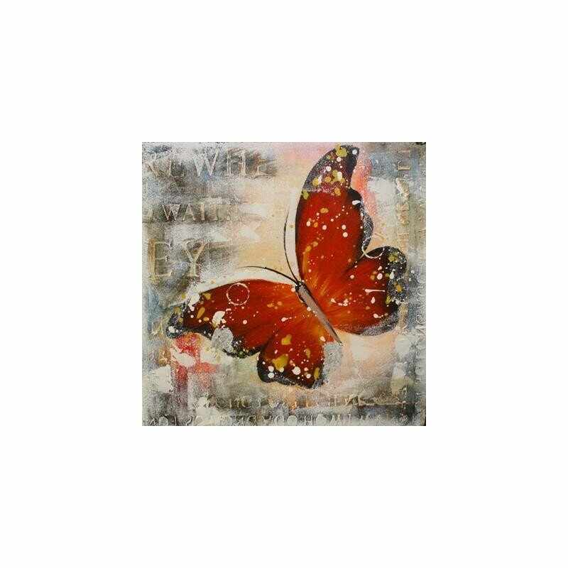 Tablou pictat manual Butterfly rosu, 40x40cm