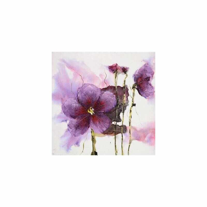 Tablou pictat manual Lilies pink, 60x60cm