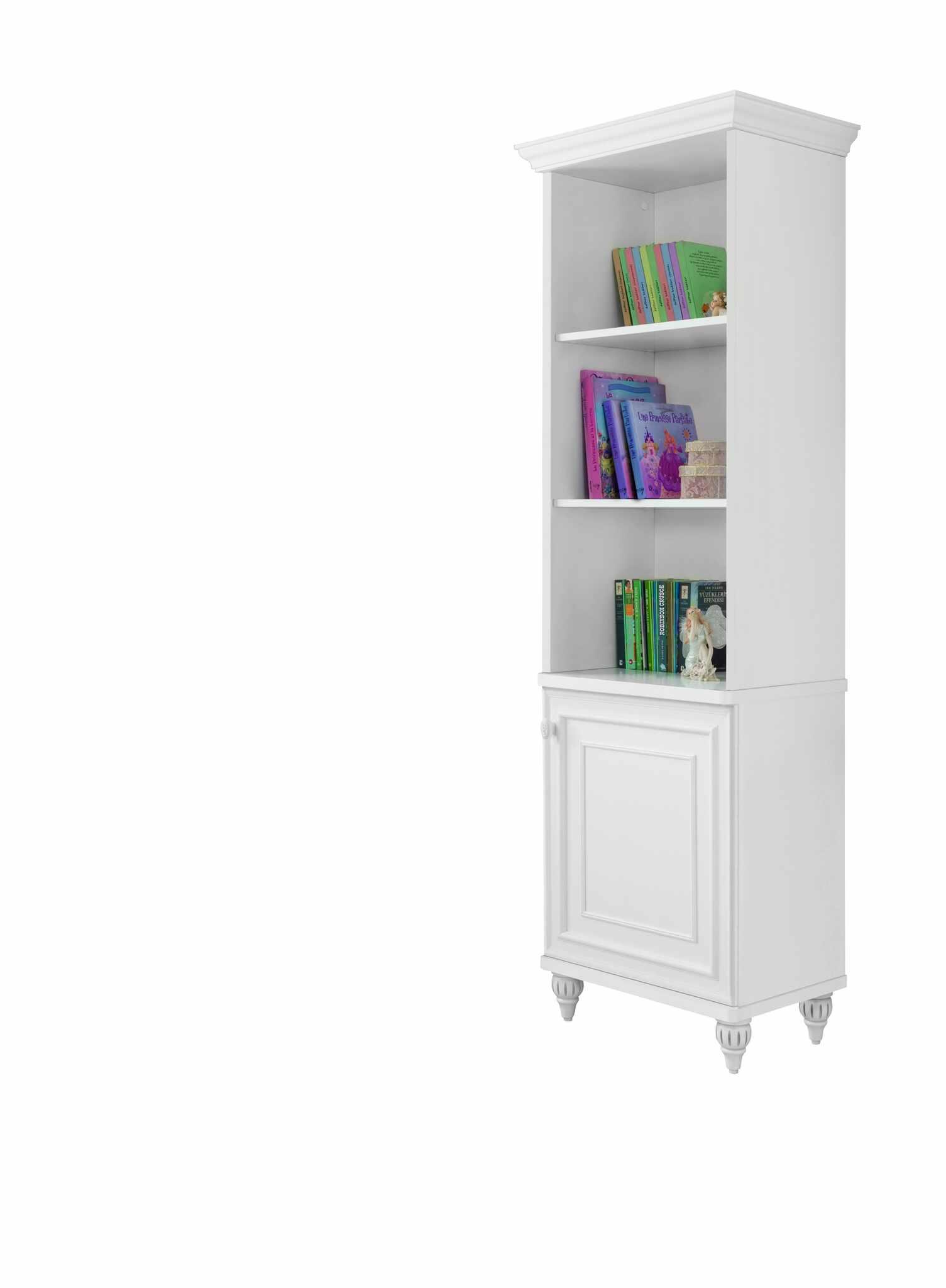 Biblioteca din pal cu 1 usa, pentru copii si tineret Romantica White, l52xA42xH185 cm la pret 1091 lei