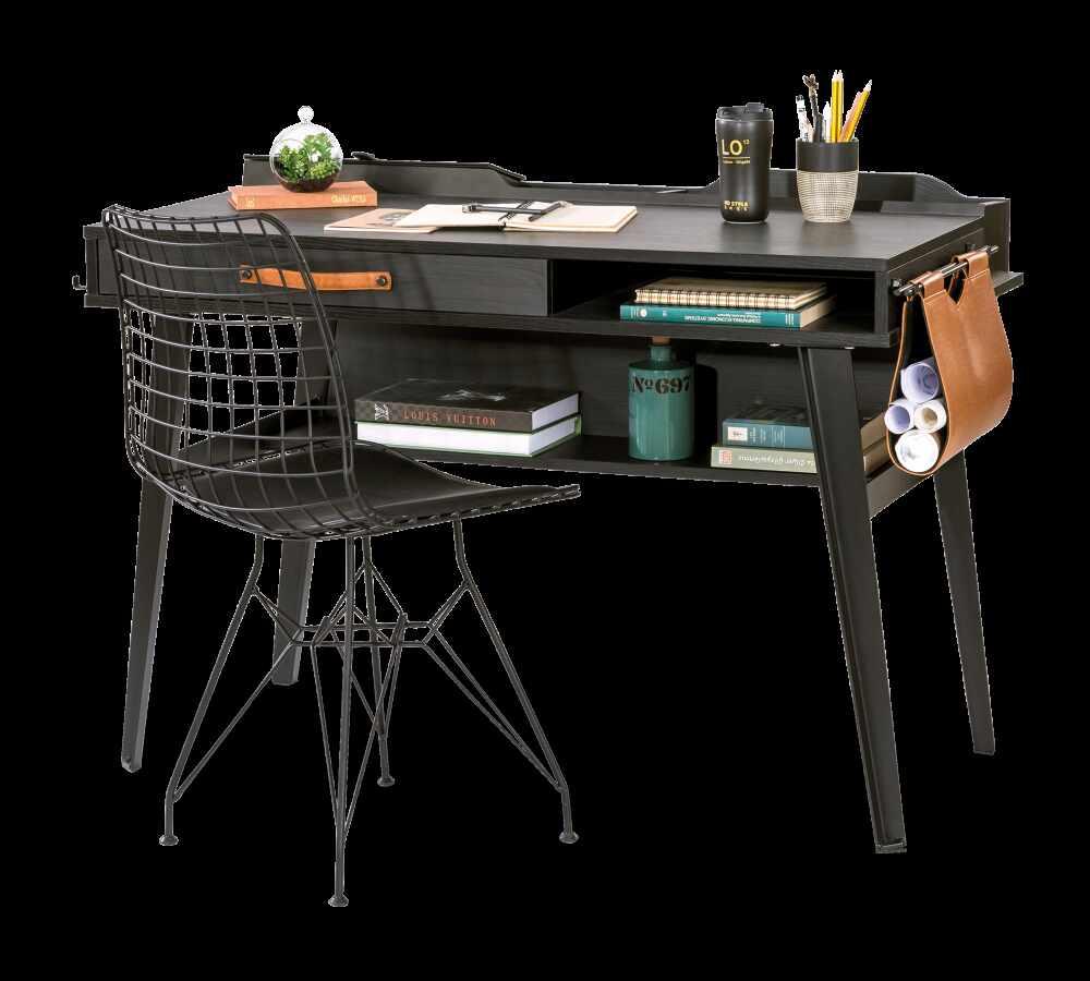Masa de birou din pal si metal, pentru tineret Dark Metal Black / Graphite, L114xl62xH80 cm la pret 1304 lei