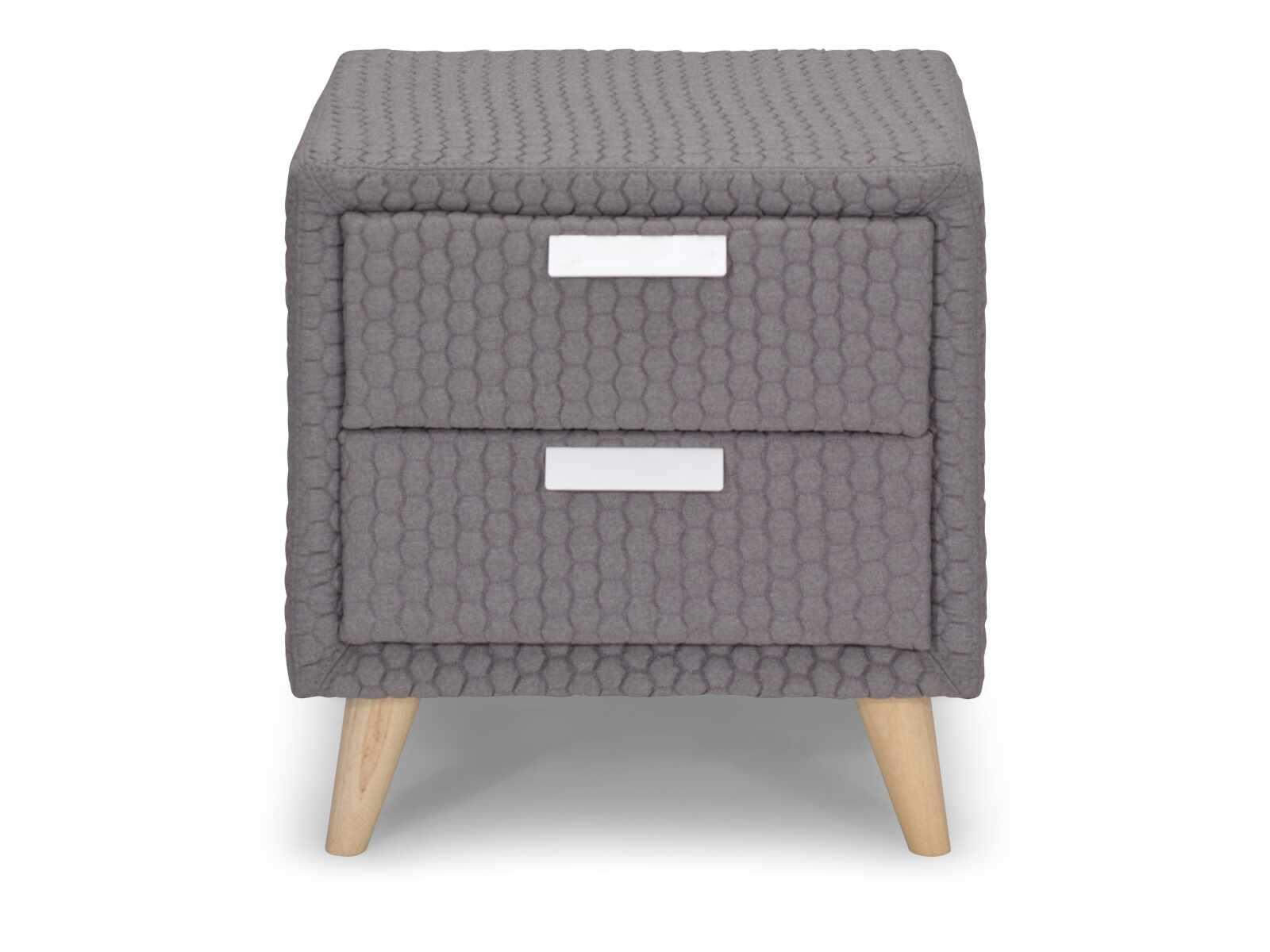 Noptiera cu 2 sertare tapitata cu stofa Astrid Grey, l50xA40,5xH53 cm la pret 558 lei