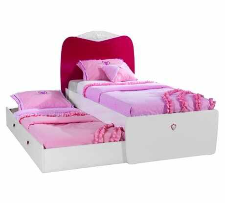 Pat din pal cu sertar, pentru fete si tineret Yakut White / Dark Pink, 190 x 90 cm la pret 1418 lei