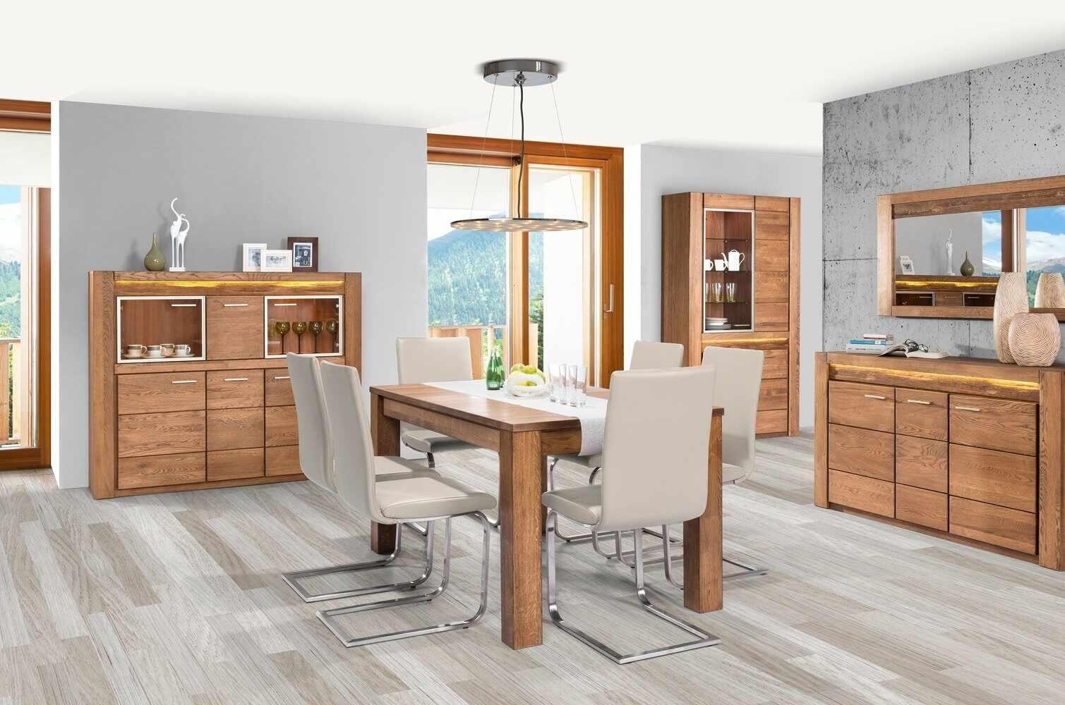 Set de mobila dining din lemn de stejar si furnir, 5 piese Velvet Oak la pret 14737 lei