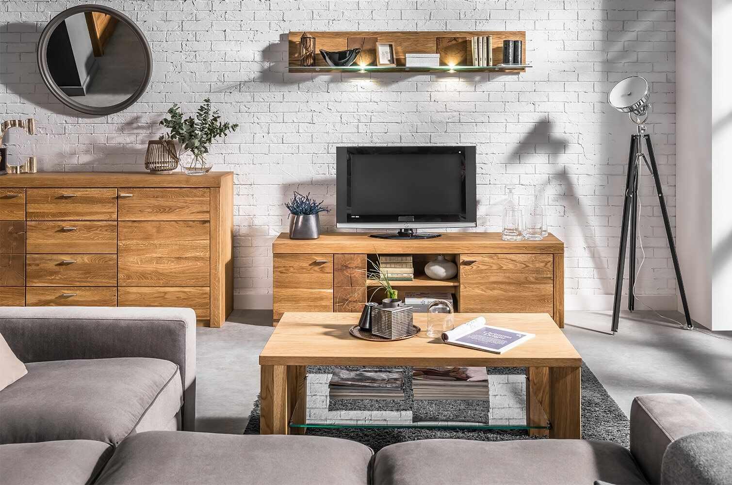 Set de mobila living din lemn de stejar si furnir, 3 piese Velle Oak la pret 4982 lei