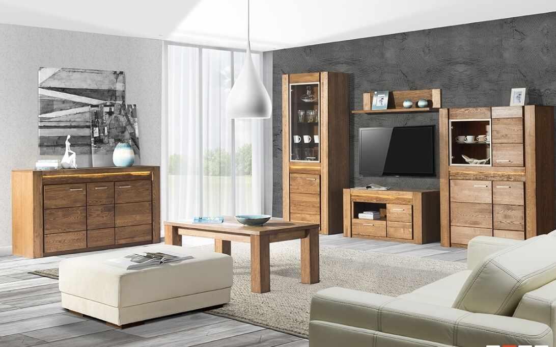 Set de mobila living din lemn de stejar si furnir, 6 piese Velvet Oak la pret 11954 lei