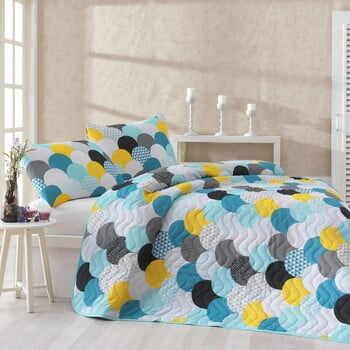 Set cuvertură pentru pat și față de pernă Eponj Home Damla Mint, 160 x 220 cm la pret 186 lei