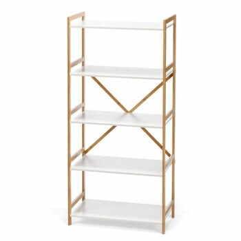 Etajeră cu 4 nivele, cu structură din bambus loomi.design Lora, alb la pret 425 lei