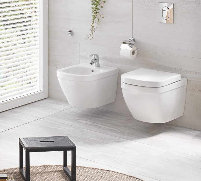 Set vas wc suspendat cu capac softclose si bideu Grohe Euro Ceramic Rimless Triple Vortex la pret 2069 lei