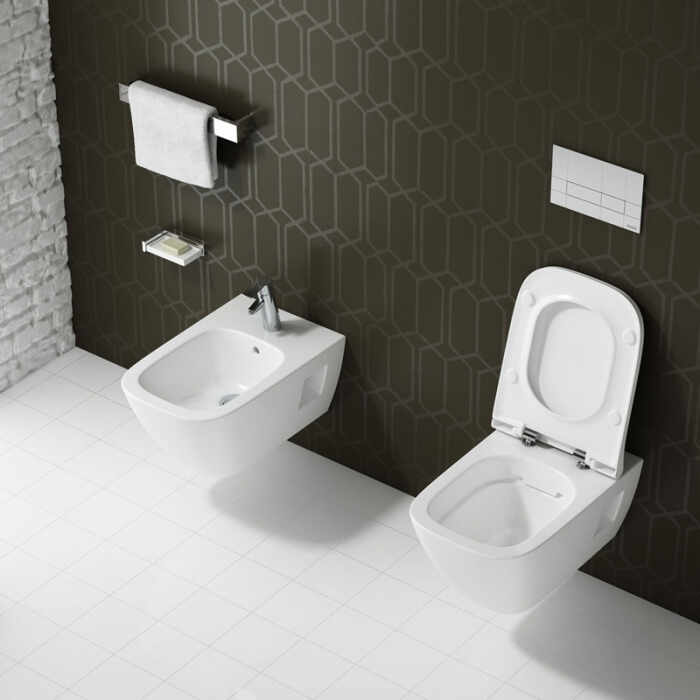 Set vas wc suspendat cu capac softclose si bideu Kolo Modo Rimfree