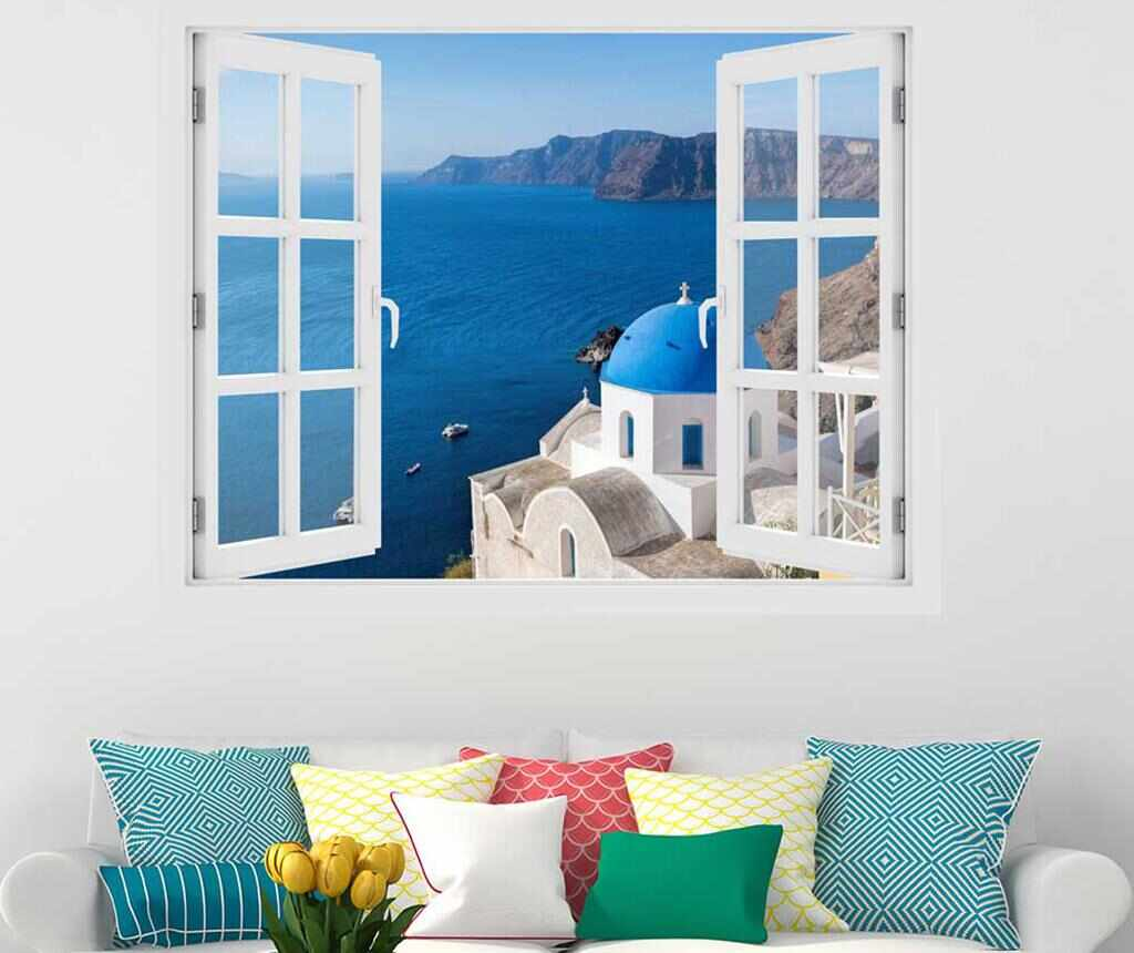 Sticker 3D Window Santorini Oia la pret 69.99 lei