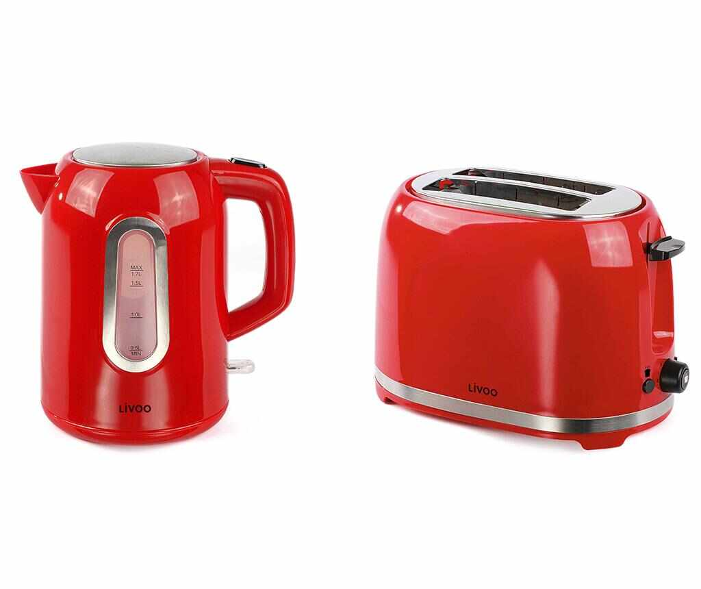 Set prajitor de paine si fierbator electric Breakfast Red