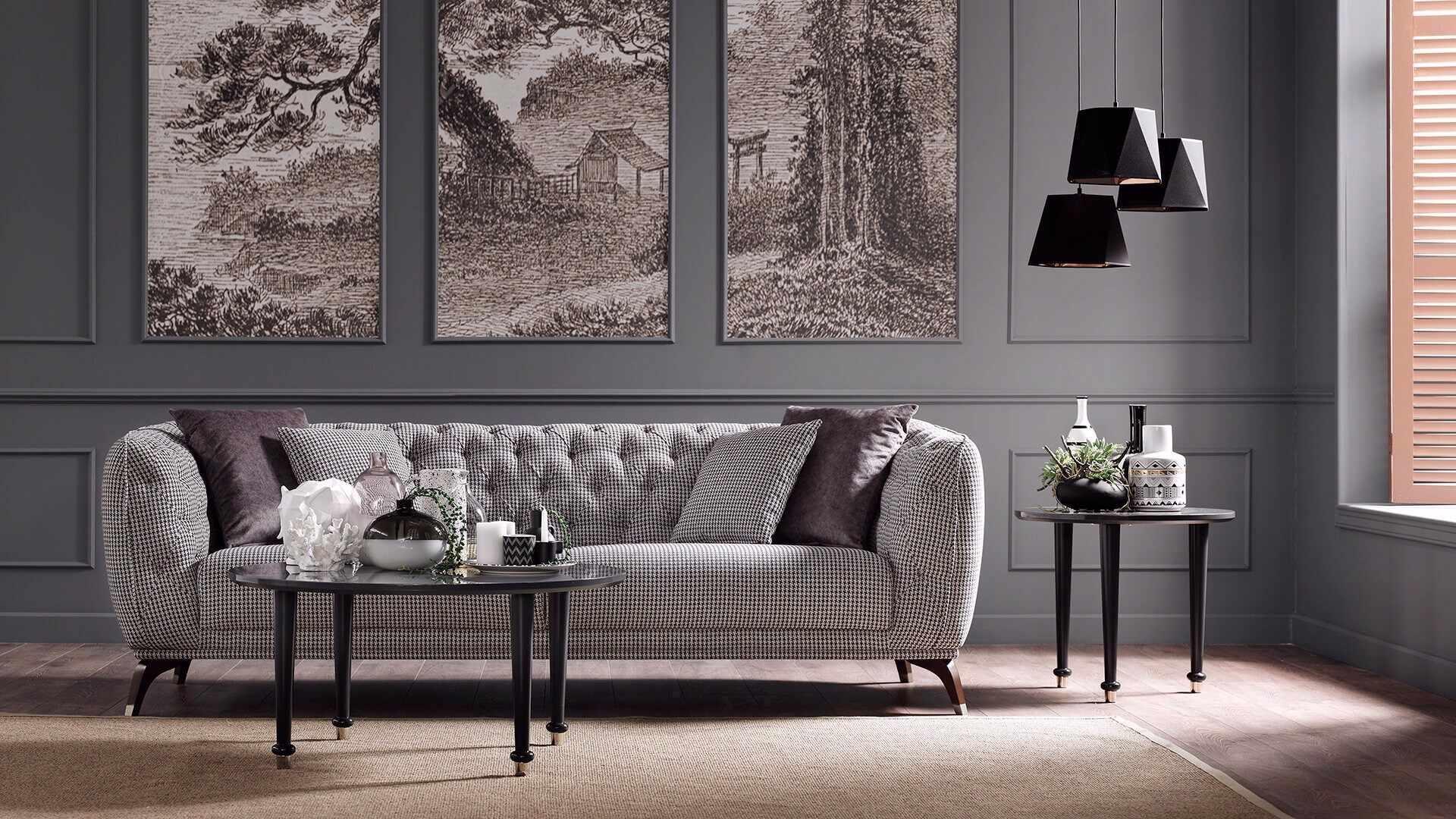 Canapea fixa tapitata cu stofa, 3 locuri Olivia Multicolor, l235xA100xH78 cm la pret 4350 lei