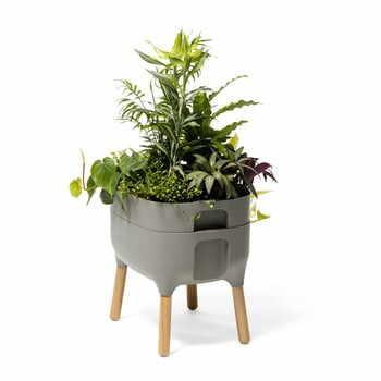 Vas pentru cultivarea plantelor Plastia Low Urbalive, înălțime 48 cm, gri la pret 407 lei