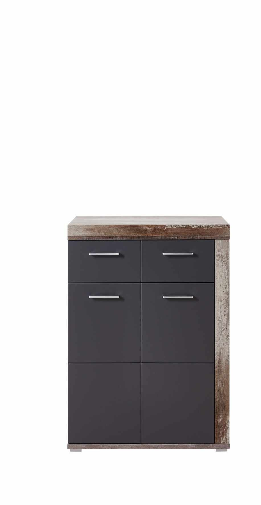 Cabinet din pal si MDF, cu 1 sertar si 2 usi Krone Grafit / Natur, l77xA38xH107 cm la pret 750 lei