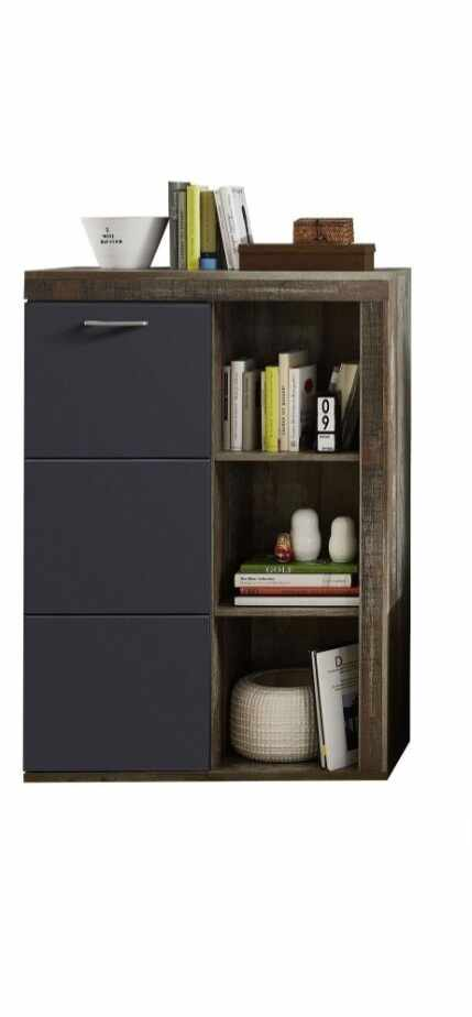 Cabinet din pal si MDF, cu 1 usa Krone Grafit / Natur, l87xA38xH125 cm la pret 691 lei