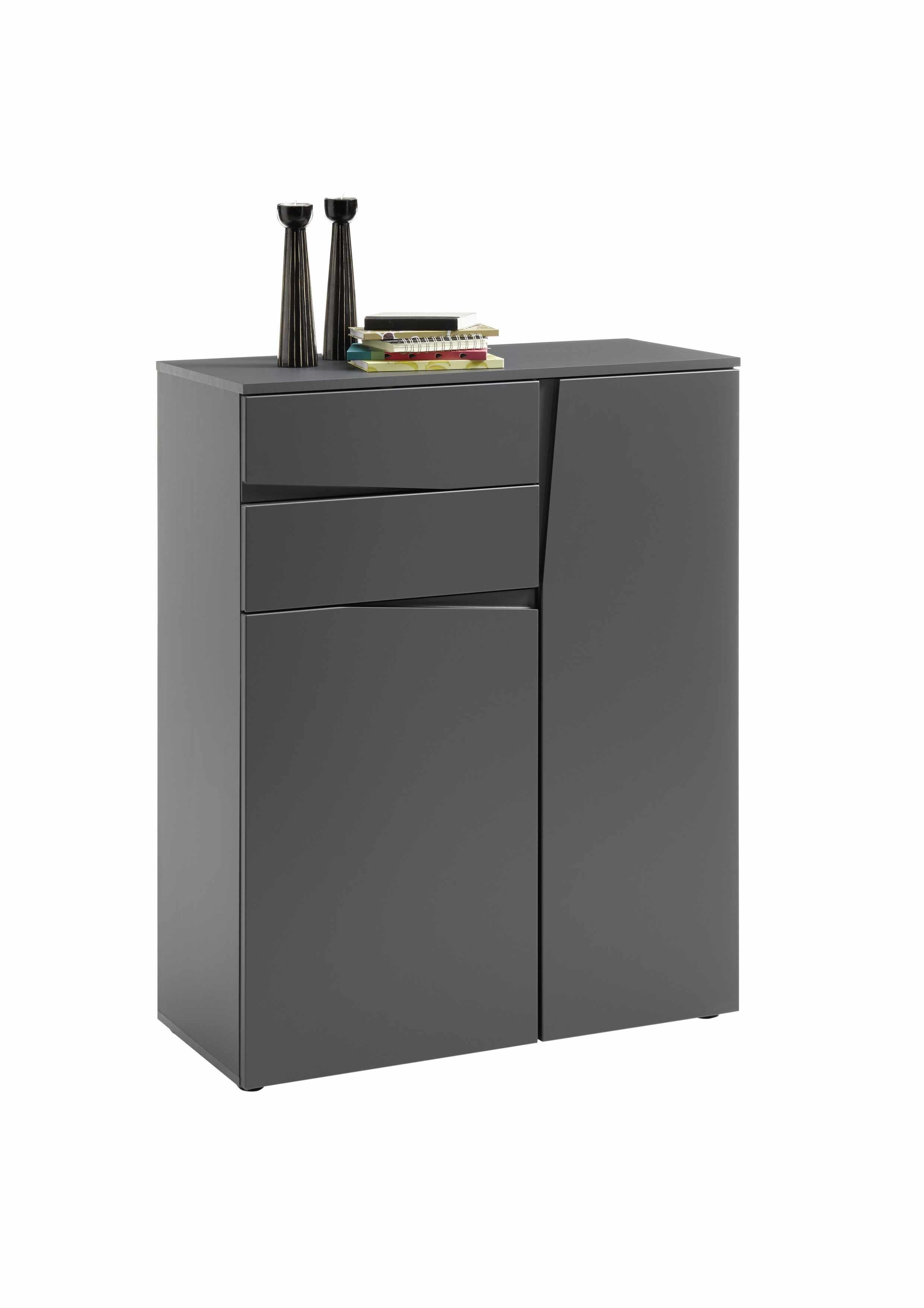 Cabinet din pal si MDF, cu 2 sertare si 2 usi Nelia Gri, l83xA38xH105 cm la pret 703 lei