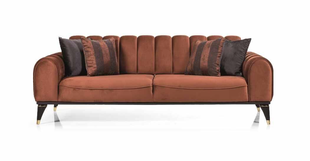 Canapea tapitata cu stofa, 3 locuri, cu functie sleep pentru 1 persoana Linda Caramiziu K2, l228xA100xH83 cm la pret 2974 lei