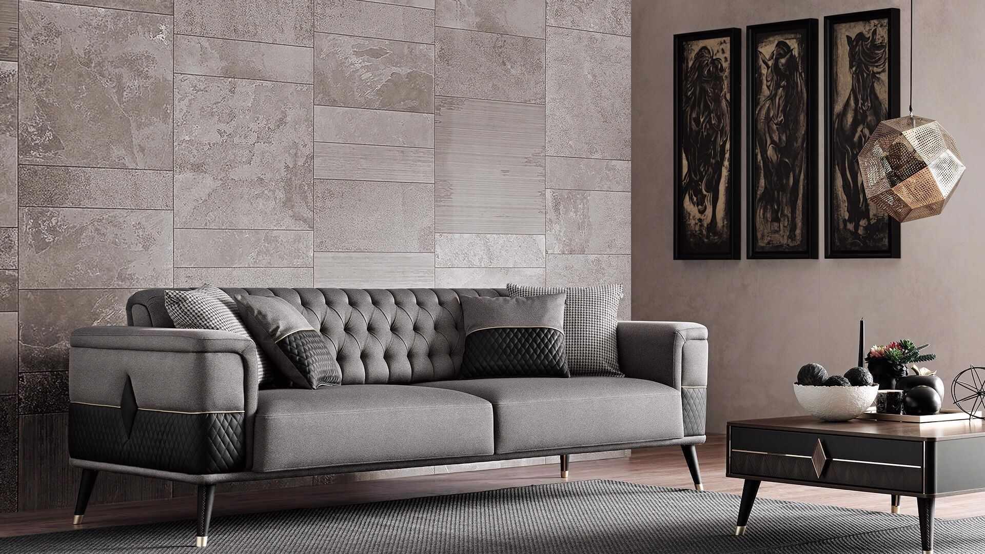 Canapea tapitata cu stofa si piele ecologica, 3 locuri, cu functie sleep pentru 1 persoana Diamond Gri inchis / Negru, l227xA92xH78 cm la pret 4648 lei