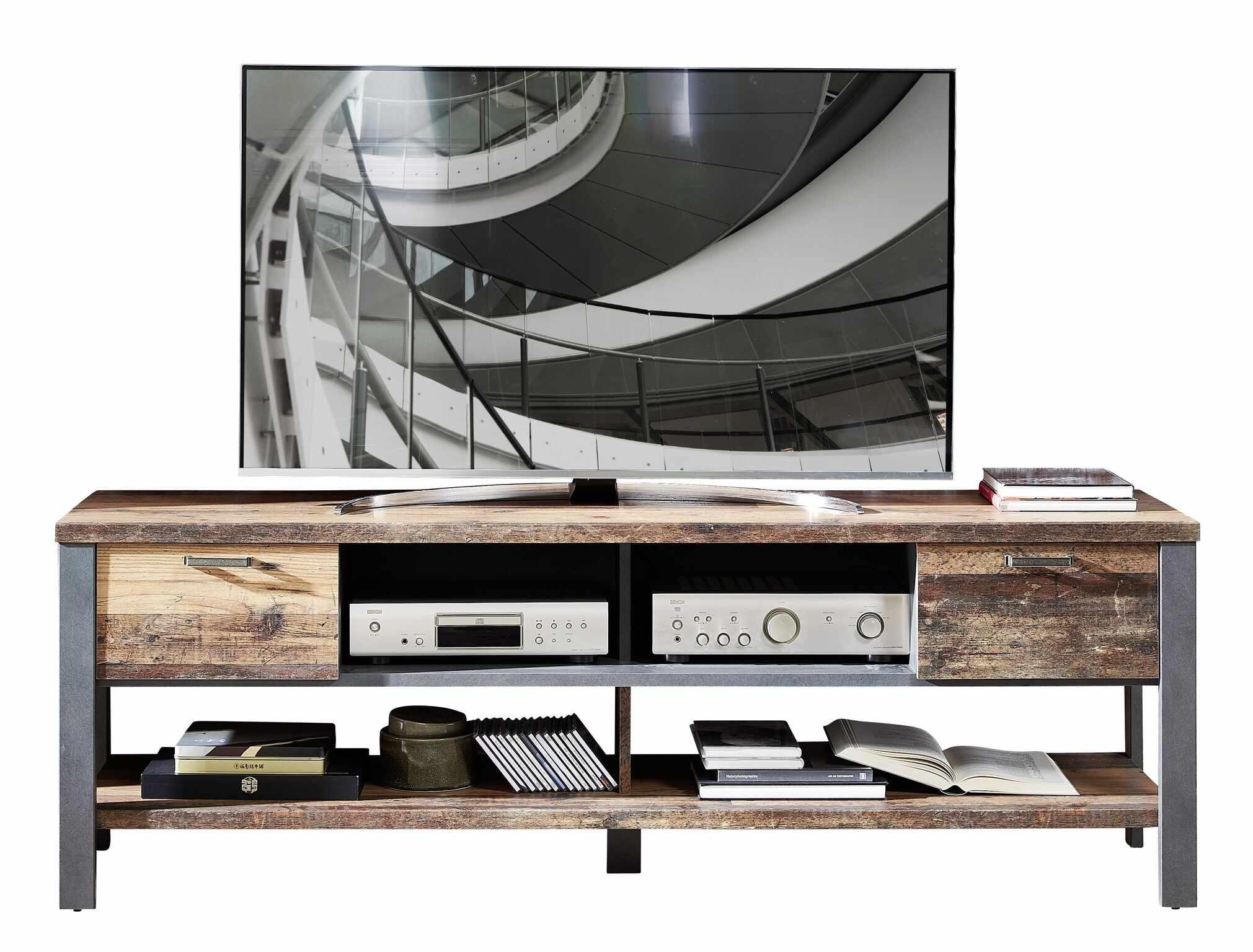 Comoda TV din pal, cu 2 sertare Chelsea Natural / Grafit, l189xA50xH58 cm la pret 1019 lei