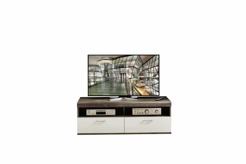 Comoda TV din pal si MDF, cu 1 sertar si 1 usa Krone Small Alb / Natur, l140xA48xH50 cm la pret 644 lei