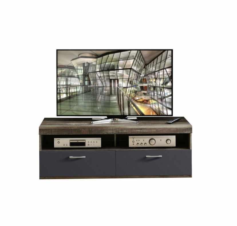 Comoda TV din pal si MDF, cu 1 sertar si 1 usa Krone Small Grafit / Natur, l140xA48xH50 cm la pret 753 lei