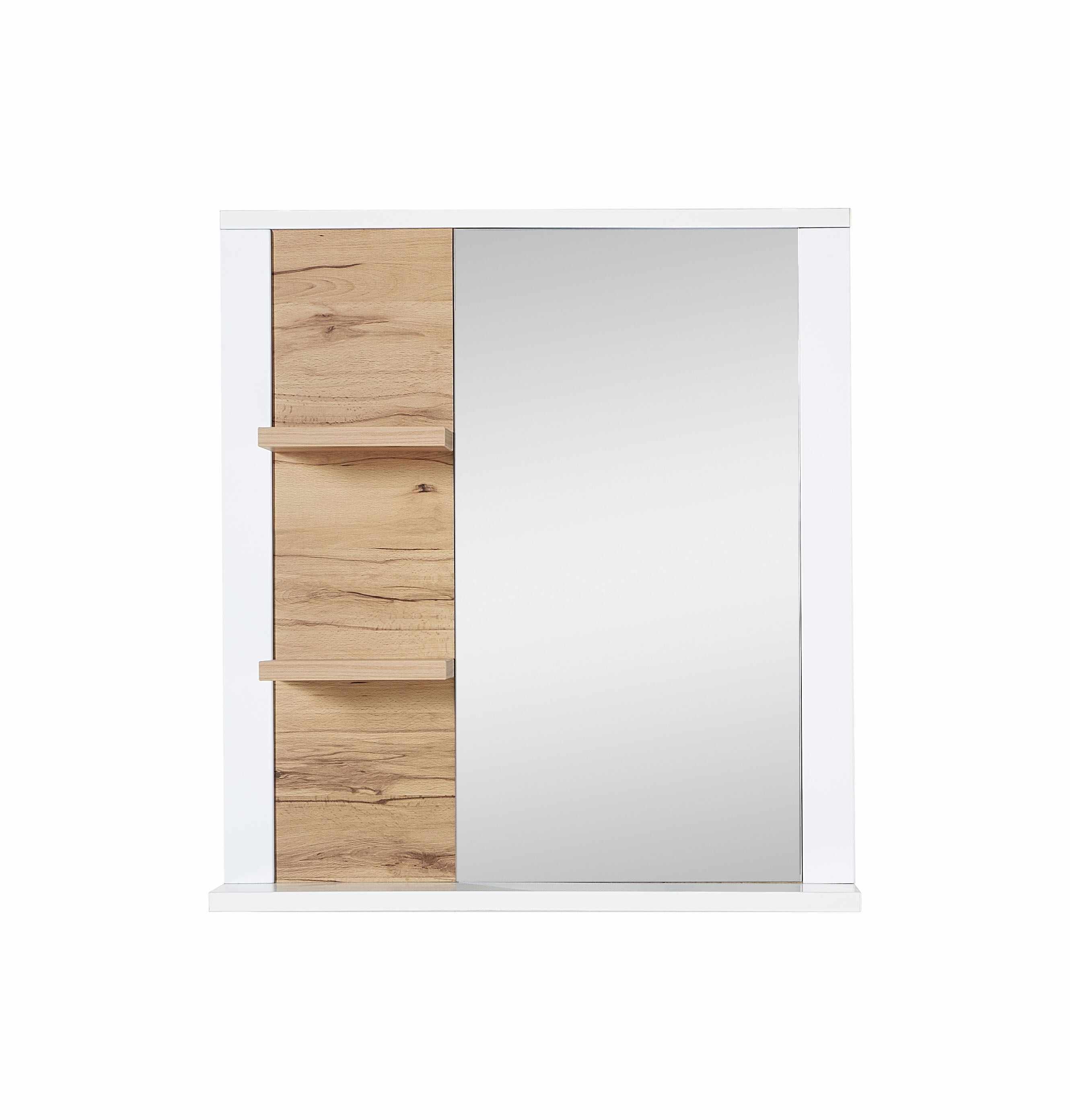 Oglinda decorativa cu 2 etajere din pal si MDF, Selina Alb / Natur, l73xA15xH80 cm la pret 450 lei