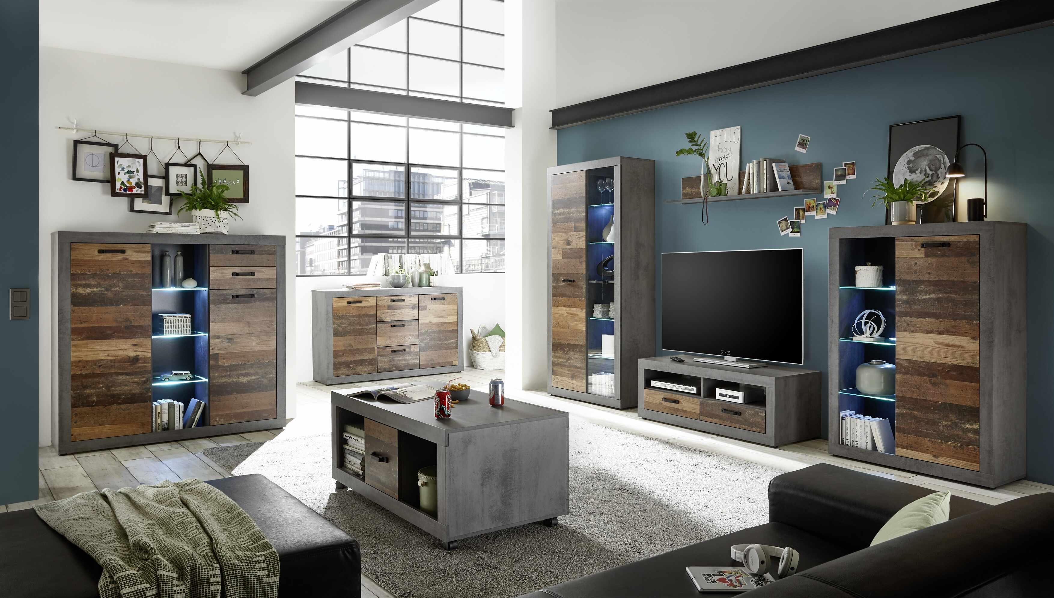 Set de mobila living din pal, 6 piese Inez Gri / Natur la pret 3816 lei