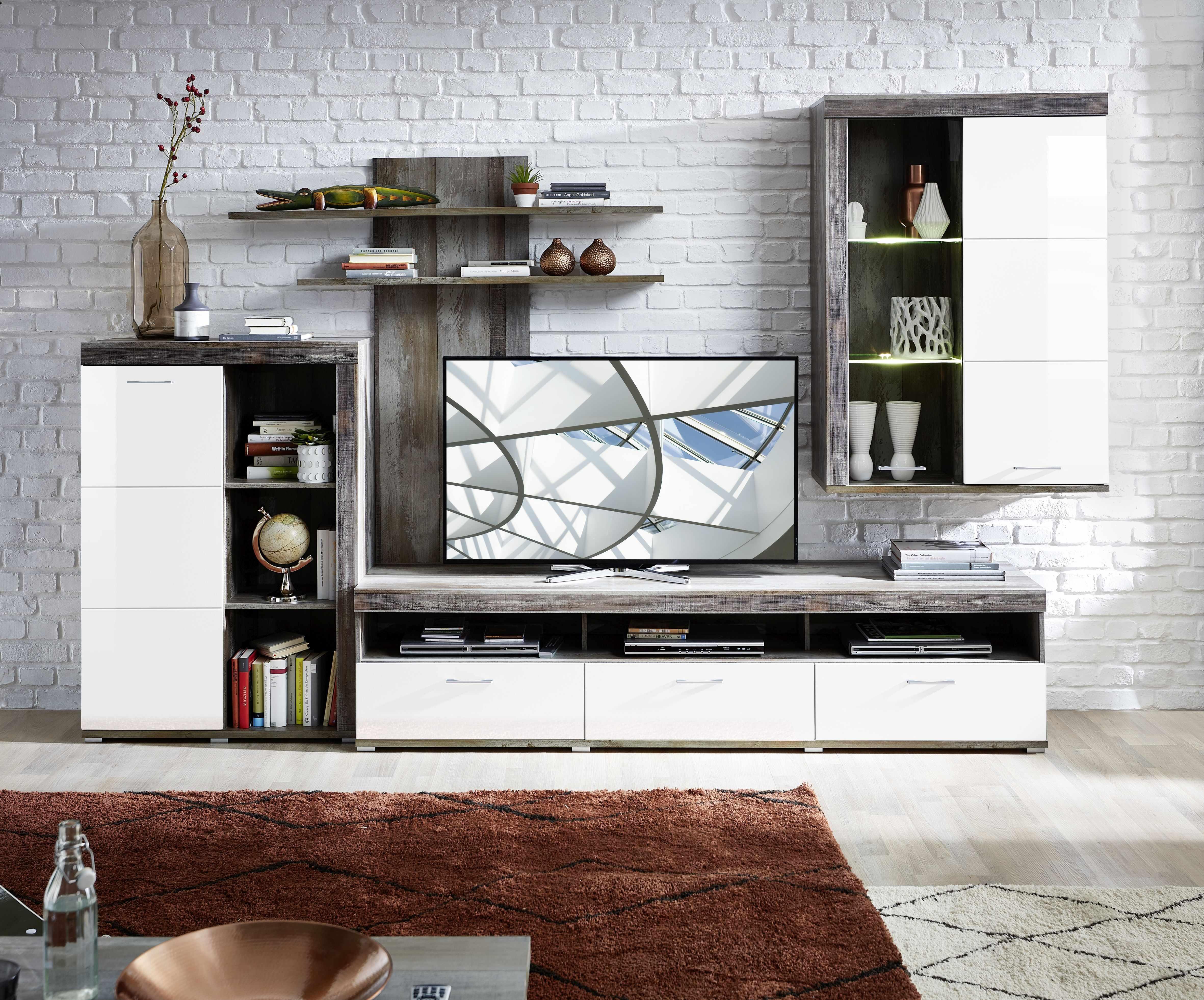 Set de mobila living din pal si MDF, 4 piese Krone I Alb / Natur la pret 2727 lei