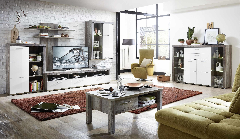 Set de mobila living din pal si MDF, 6 piese Krone I Alb / Natur la pret 5334 lei