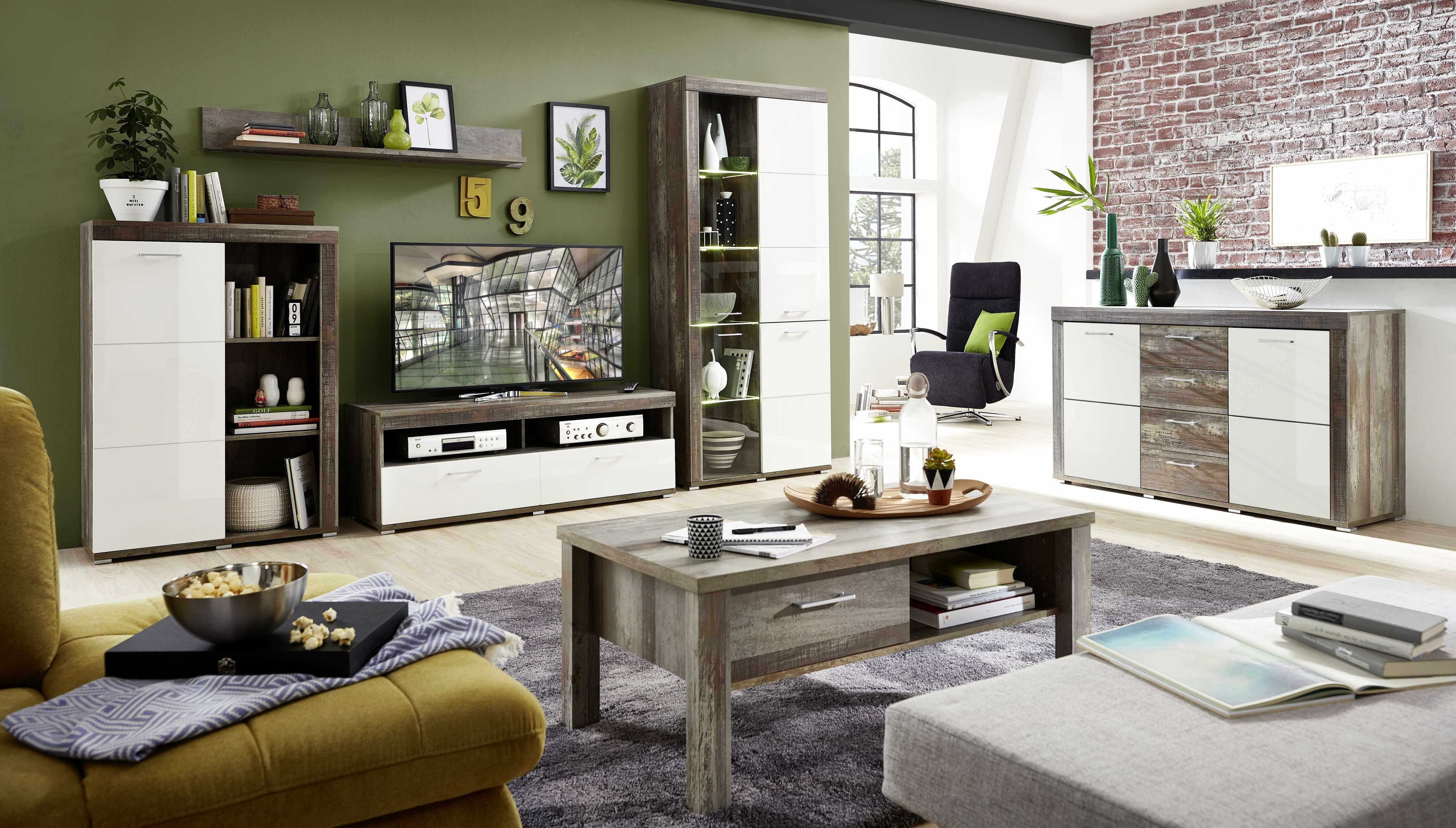 Set de mobila living din pal si MDF, 6 piese Krone II Alb / Natur la pret 4934 lei
