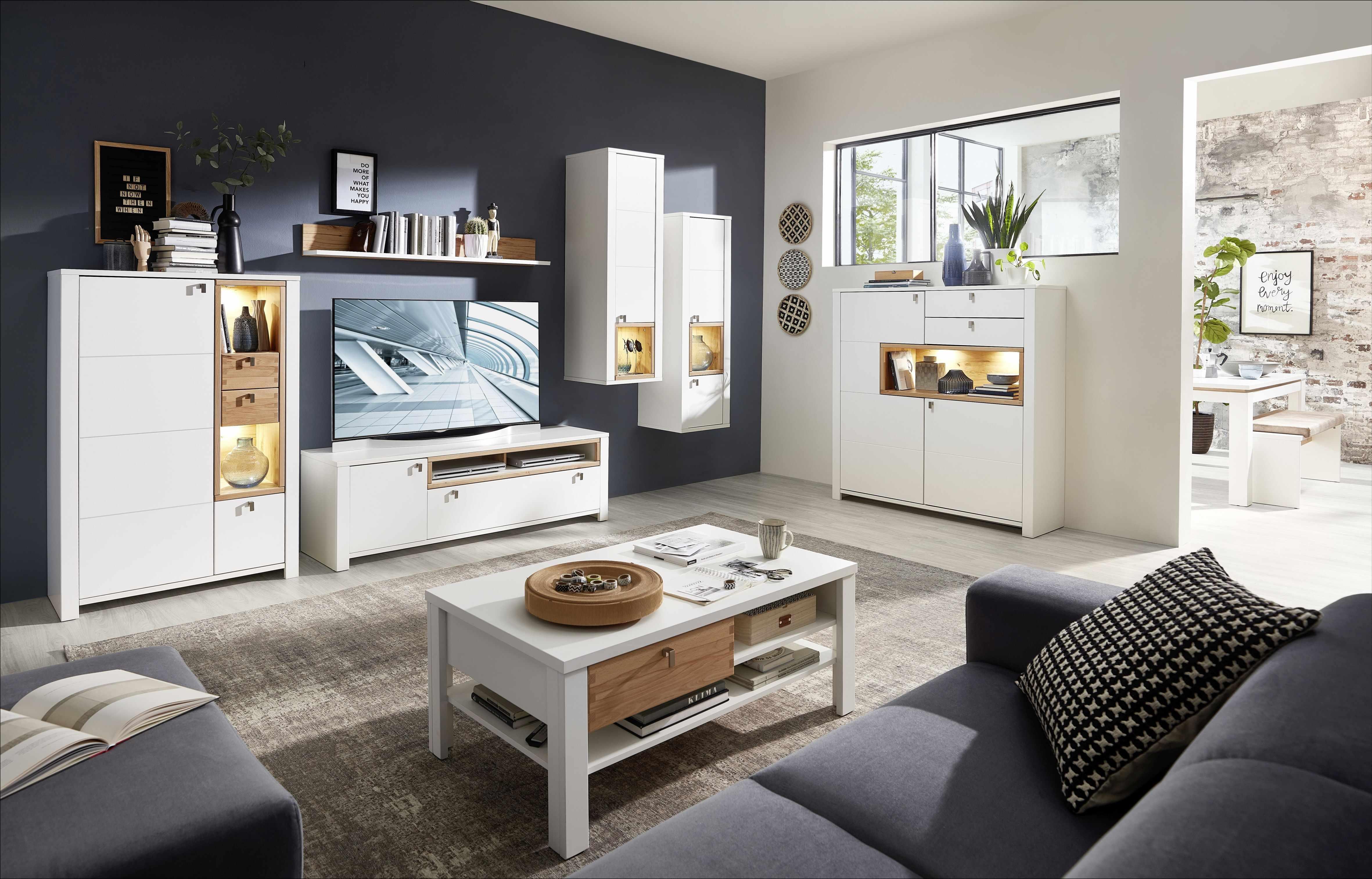 Set de mobila living din pal si MDF, 7 piese Selina Alb / Natur la pret 7891 lei