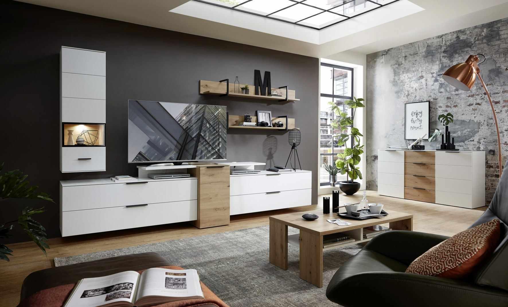 Set de mobila living din pal si MDF, 8 piese Madeline Alb / Stejar la pret 7231 lei