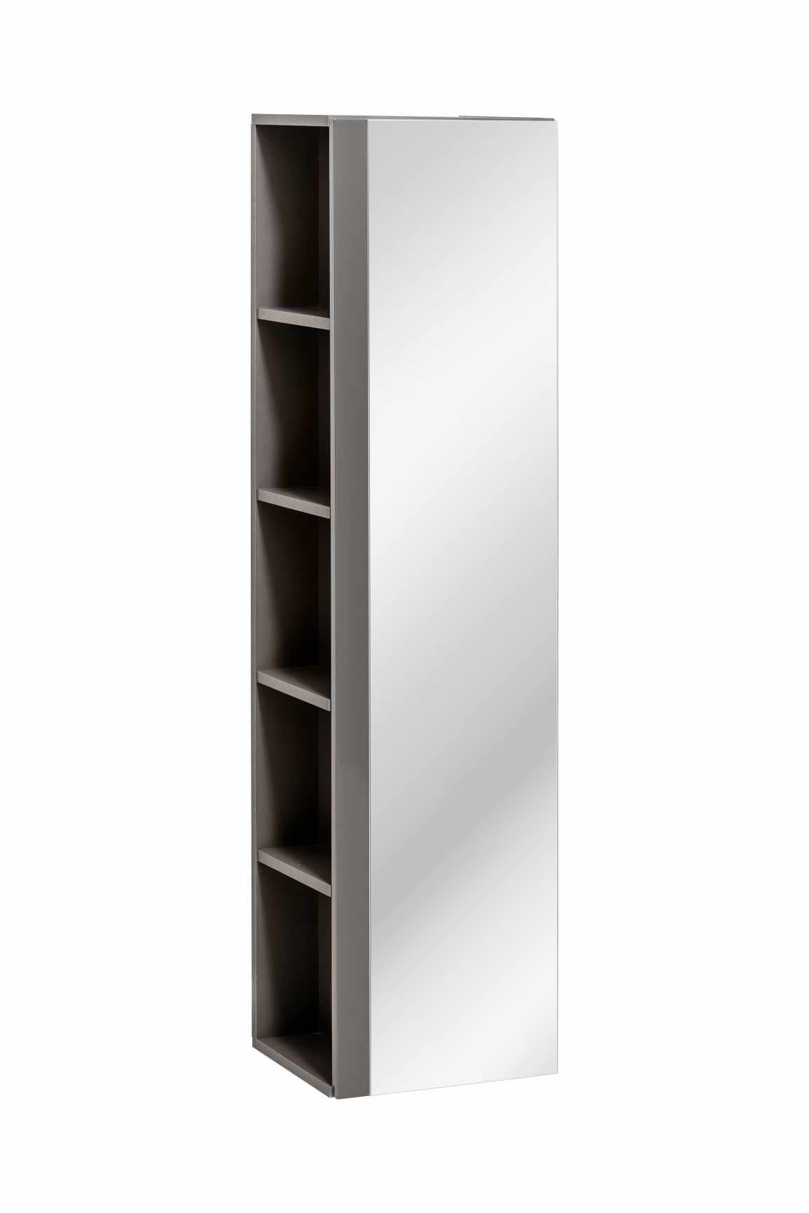 Dulap baie inalt cu 1 usa si oglinda Twist Grey, l35xA30xH140 cm la pret 577 lei