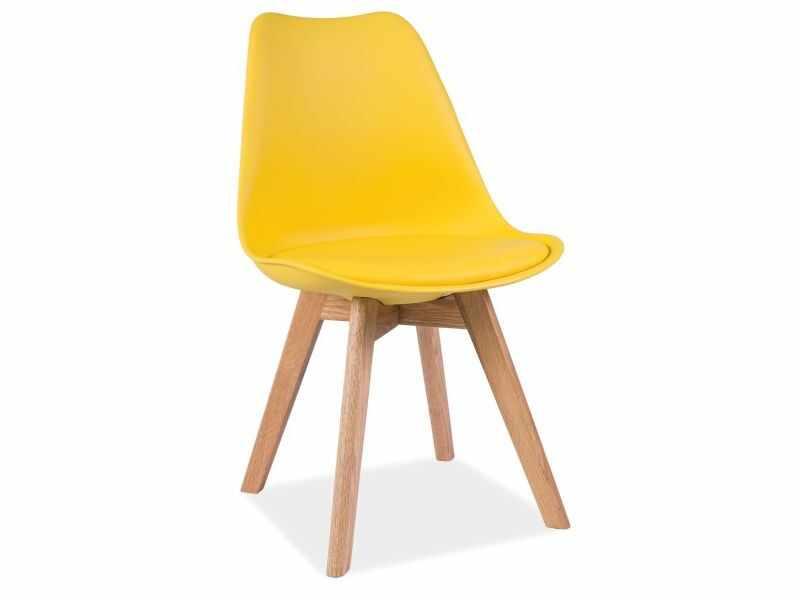 Scaun tapitat cu piele ecologica, cu picioare din lemn Kris Yellow / Oak, l49xA41xH83 cm la pret 243 lei