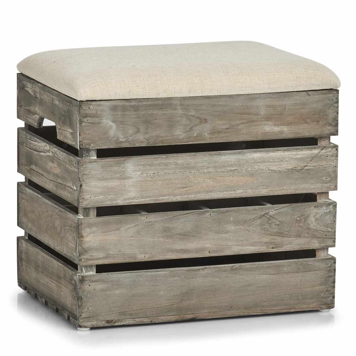 Taburet din lemn cu spatiu de depozitare, Wood Natural, l40xA29,5xH37 cm la pret 236 lei