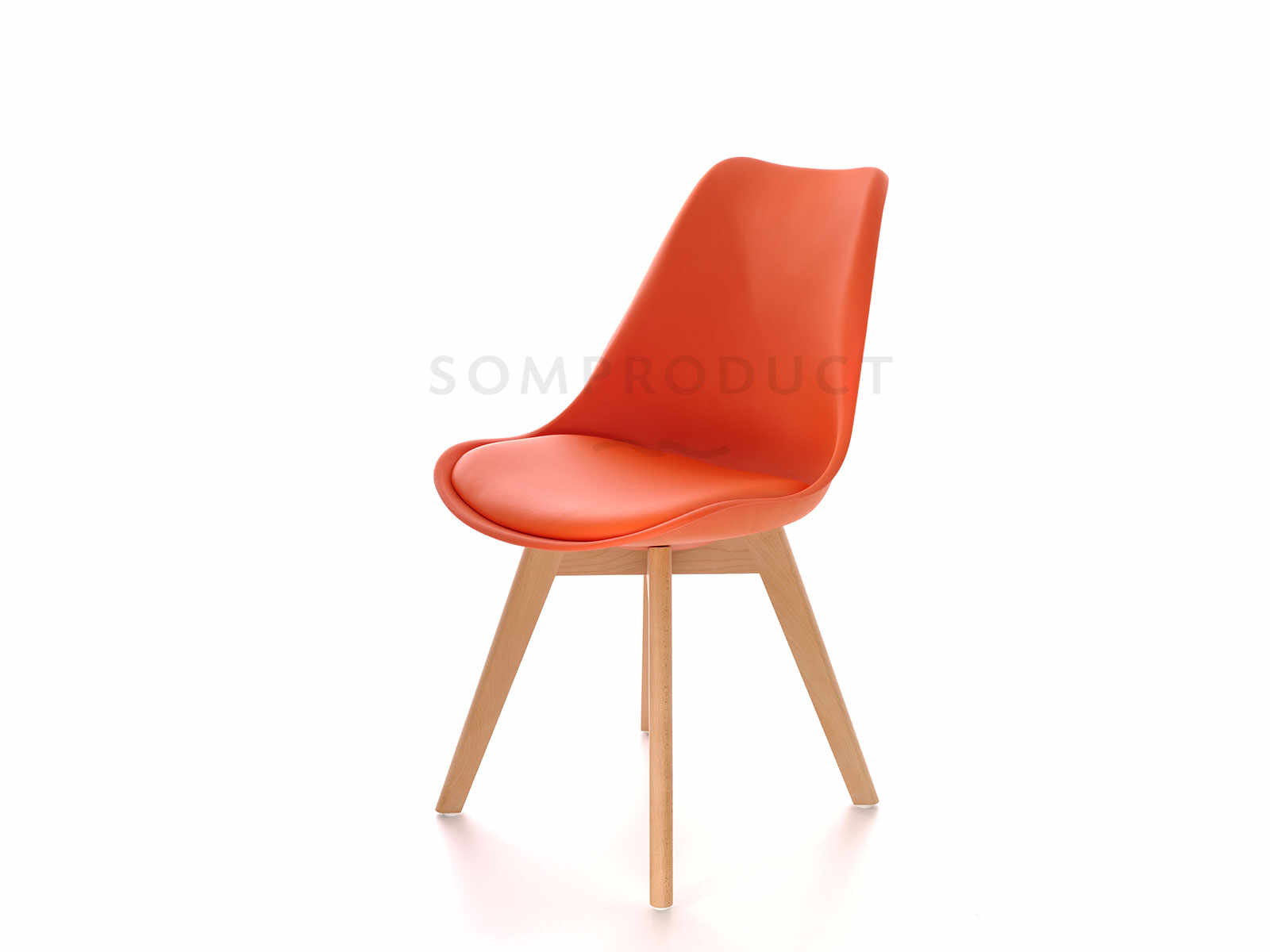 Scaun din plastic cu picioare din lemn si sezut tapitat cu piele ecologica Sven Orange, l46xA43xH80 cm la pret 200 lei