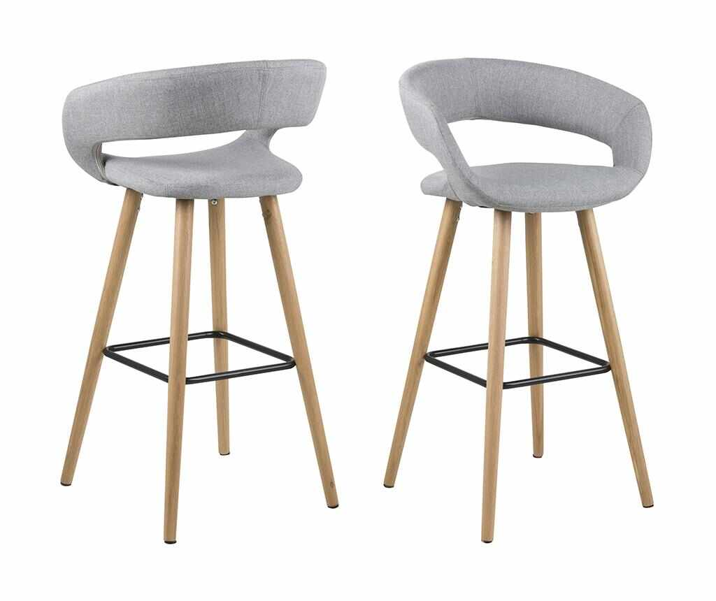 Set 2 scaune de bar Grace Light Grey