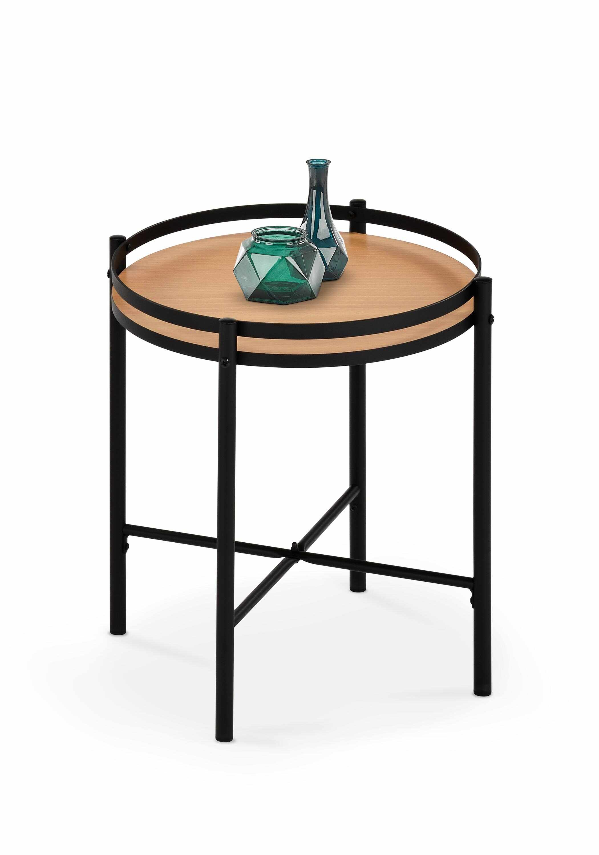 Masa de cafea din MDF si metal Mela Natural / Negru, Ø44xH46 cm la pret 251 lei