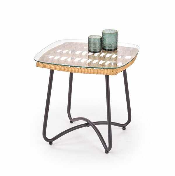 Masa de cafea din ratan, sticla si metal Indira Natural, L51xl51xH48 cm la pret 227 lei