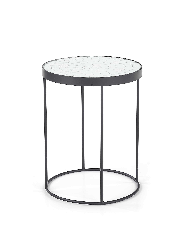 Masa de cafea din sticla si metal Naturo 2 Alb / Negru, Ø47xH61 cm la pret 505 lei