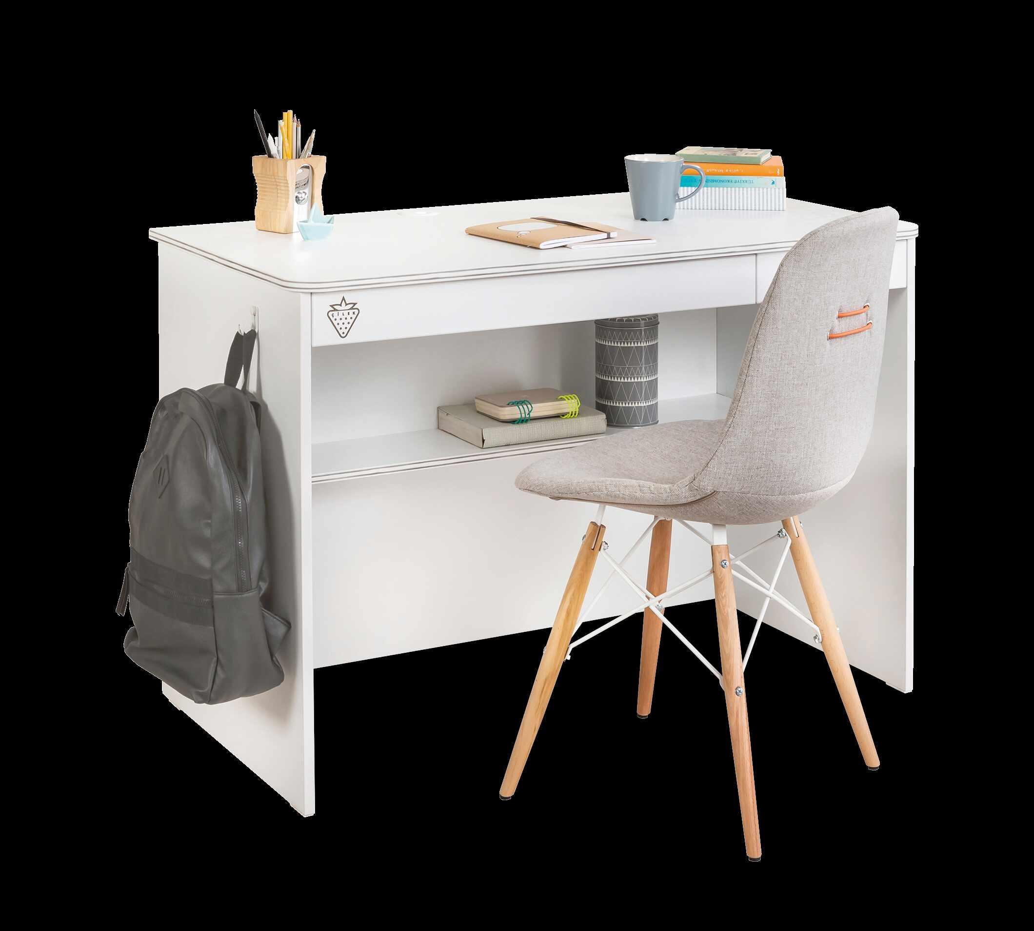 Masa de birou din pal cu 2 sertare pentru tineret White Small, L113xl59xH75 cm la pret 477 lei