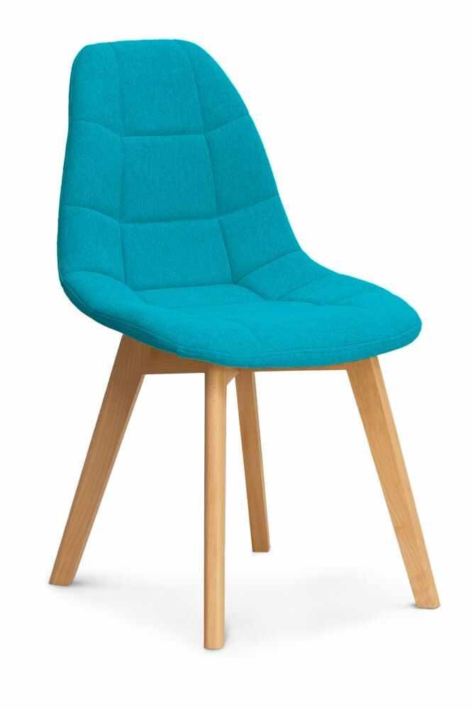 Scaun tapitat cu stofa, cu picioare din lemn Westa Blue / Beech, l49xA52xH83 cm la pret 320 lei
