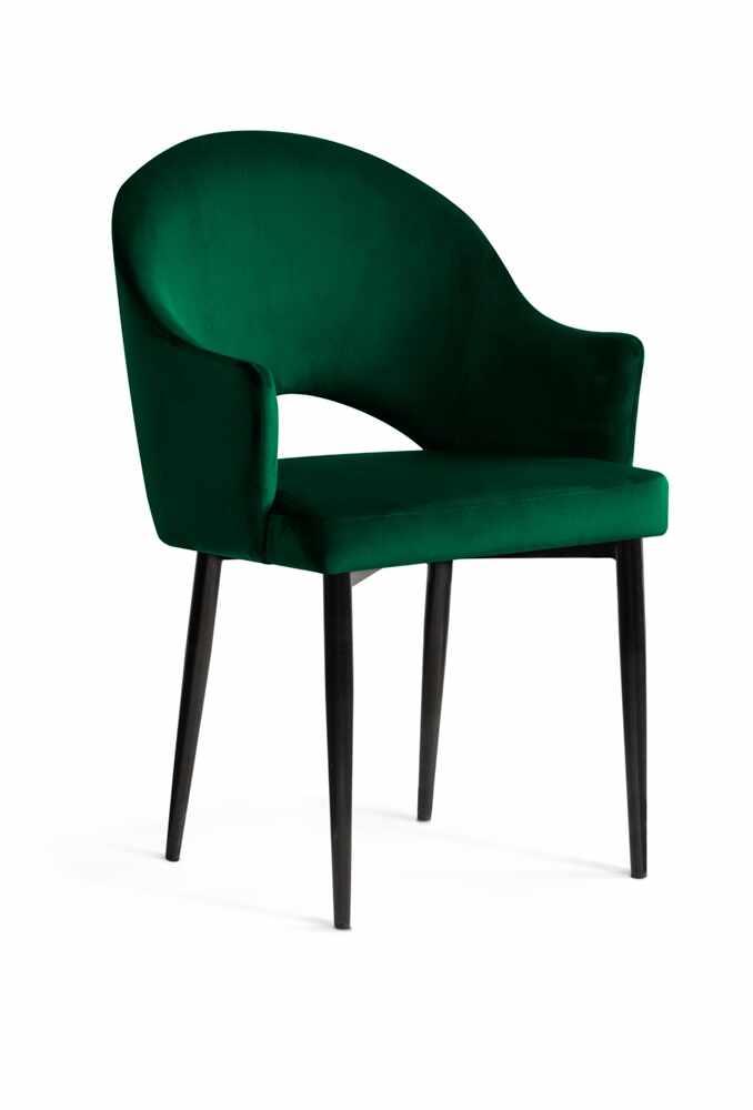 Scaun tapitat cu stofa, cu picioare metalice Goda Green / Black, l54xA58xH87 cm la pret 562 lei