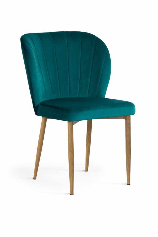 Scaun tapitat cu stofa, cu picioare metalice Shelly Turquoise / Oak, l58xA63xH86 cm la pret 562 lei