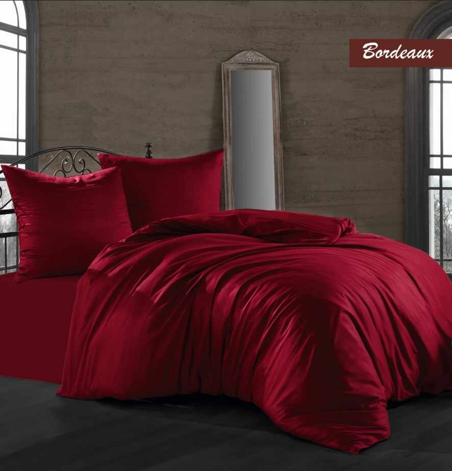 Lenjerie de pat Satin Solid Color Bordeaux-2 pers-200 x 220 cm