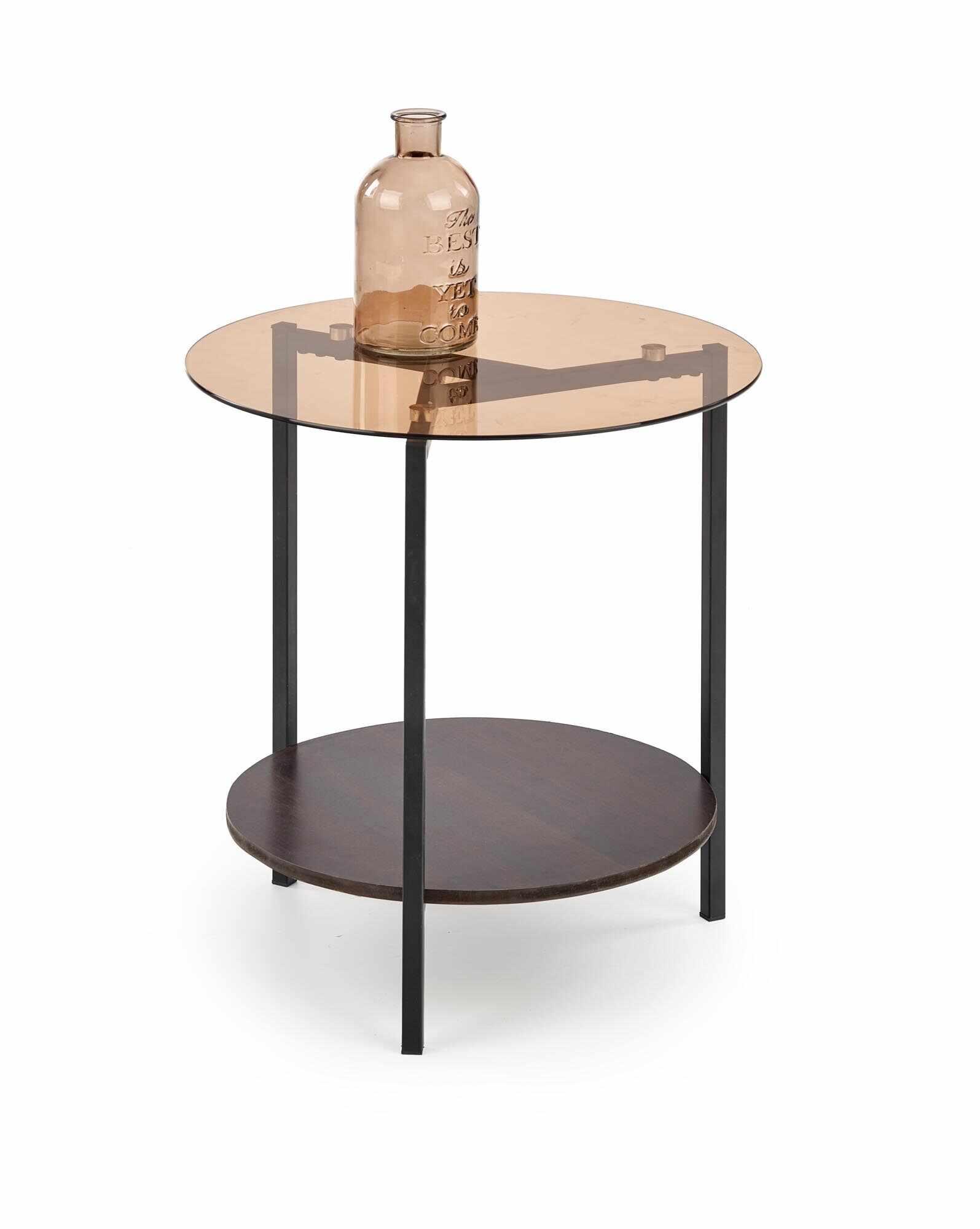 Masa de cafea din sticla, MDF si metal Girona Nuc / Negru, Ø47xH51 cm la pret 161 lei
