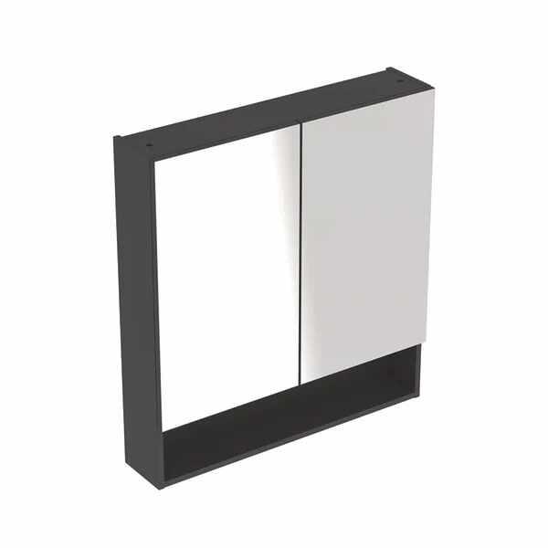 Dulap cu oglinda suspendat Geberit Selnova Square negru 2 usi 79 cm la pret 1166 lei