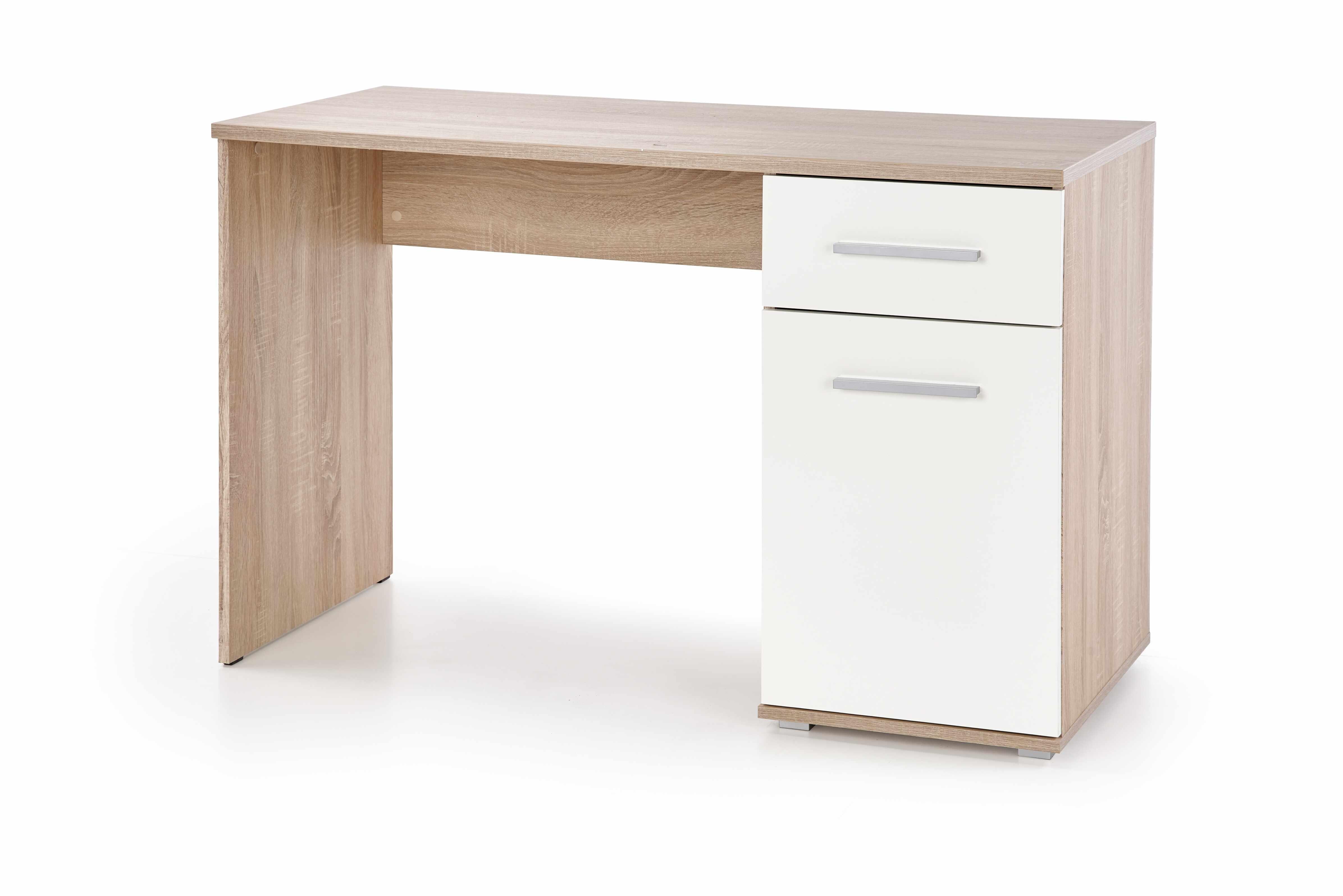 Masa de birou din pal, cu 1 sertar si 1 usa Lima B-1 Alb / Stejar Sonoma, L120xl55xH75 cm la pret 354 lei
