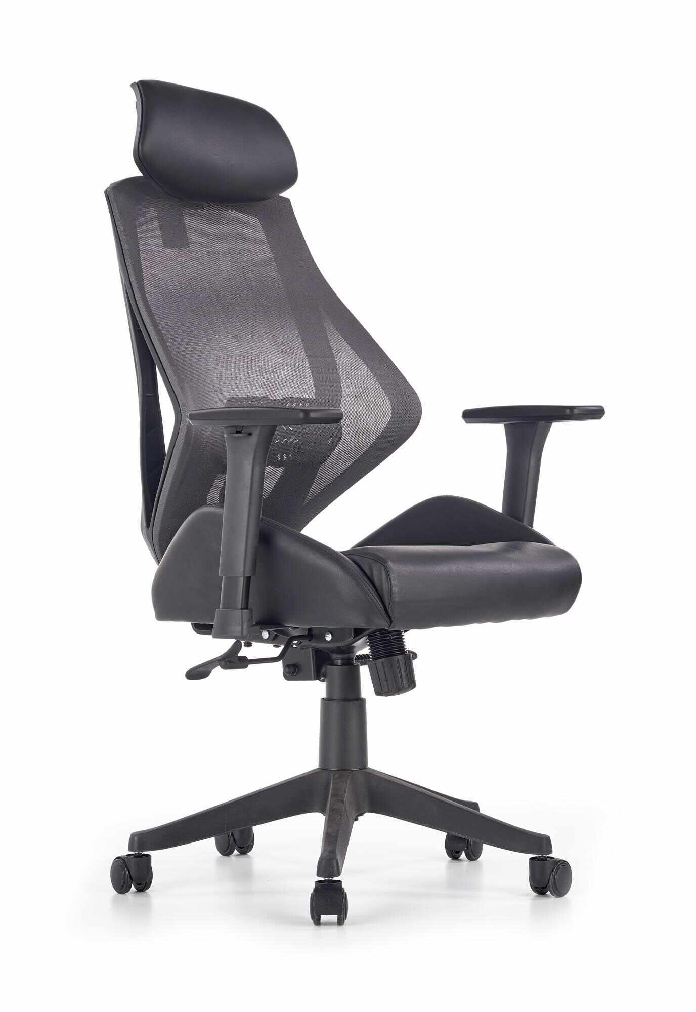 Scaun de birou ergonomic, tapitat cu piele ecologica Hasel Negru / Gri, l68xA78xH110-118 cm la pret 643 lei
