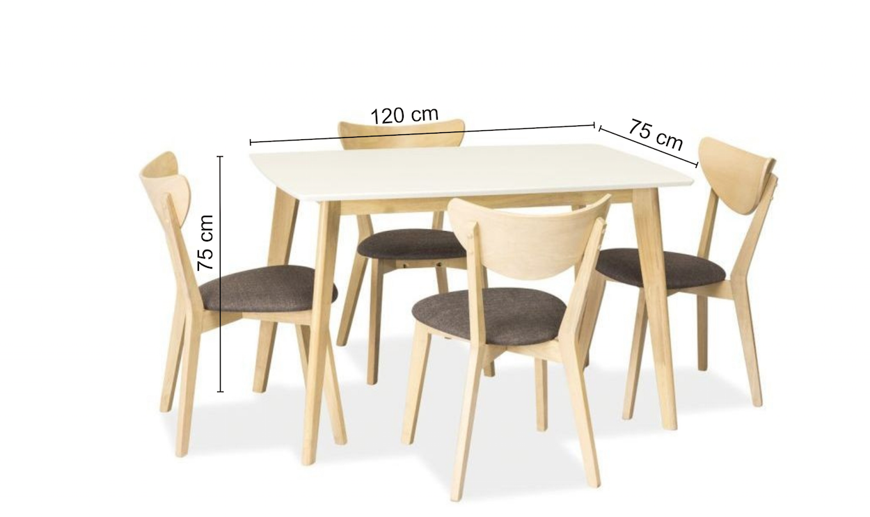 Set masa din MDF si lemn Combo White / Oak + 4 scaune CD-37 Grey / Oak, L120xl75xH75 cm